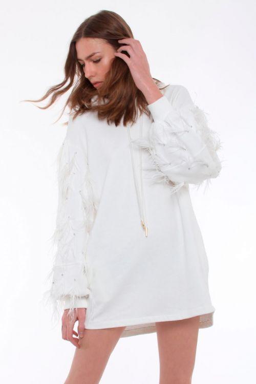 Vestido Moletom Remix - Off White