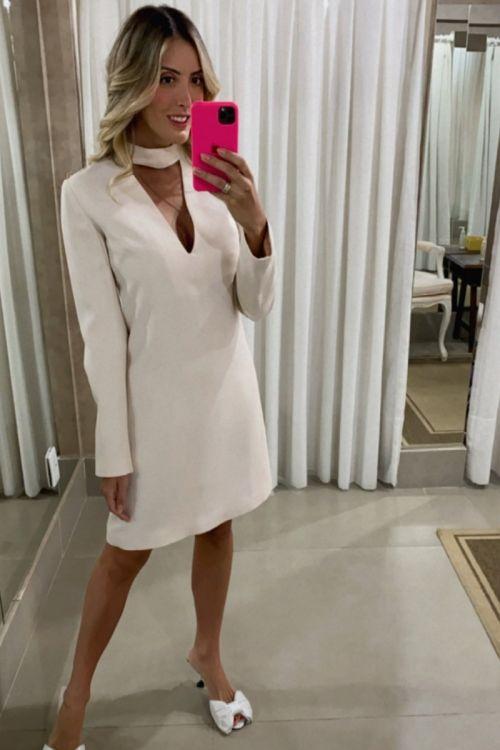 Vestido Crepe Electra Nilma Off Aveia - NK