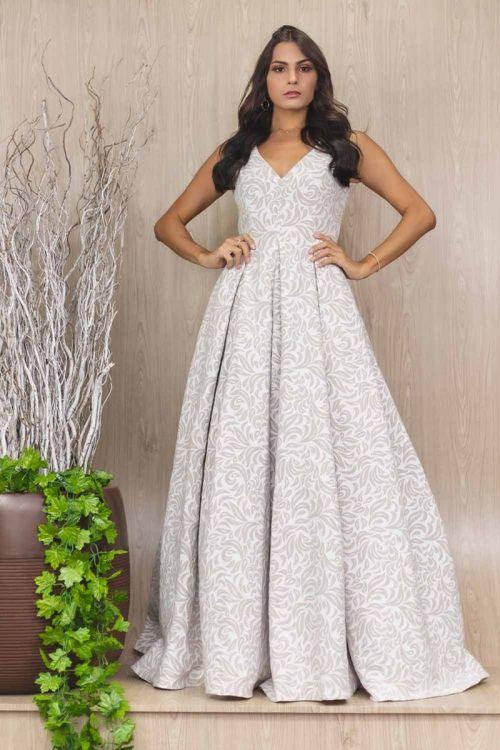 Vestido Longo Princesa em Jacquard - Off White