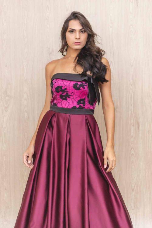 Vestido Longo Princesa Tomara que Caia - Bicolor