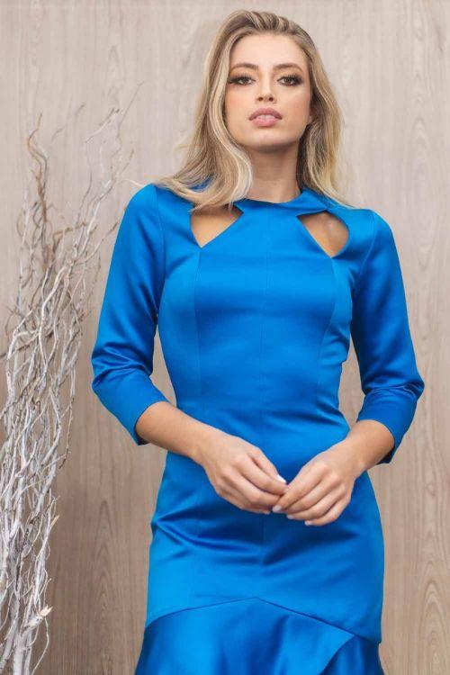 Vestido Curto Cetim Duchese Recortes - Azul